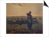 Shepherdess with Her Flock (La Grande Bergere), 1863 Poster by Jean-François Millet