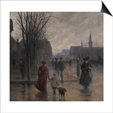 Rainy Evening on Hennepin Avenue, C.1902 Prints by Robert Koehler