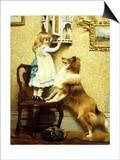 Little Girl and Her Sheltie, 1892 Prints by Charles Burton Barber