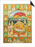 Rama and Sita Enthroned, Worshipped by Shiva, Hanuman and Others, 1800-20 (Gouache) Prints