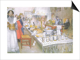 On Christmas Eve, the Huge Long Table in the Big Hall Is Absolutely Covered with the Food Poster by Carl Larsson