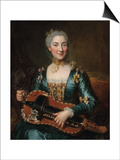 Portrait of a Lady Playing a Hurdy-Gurdy Prints by Donat Nonotte