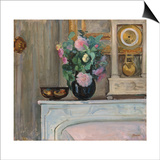 Vase of Flowers and a Clock on a Mantlepiece, C. 1920 Prints by Henri Lebasque