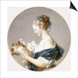 Girl Playing with a Dog and a Cat (Said to Be Marie-Madeline Colombe) Posters by Jean-Honoré Fragonard