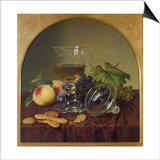 Still Life with Lidded Goblet, Fruit and Biscuit, 1836 Prints by Johann Wilhelm Preyer