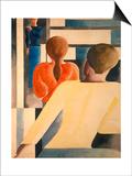 Blau-Rot-Gelb Am Gelaender Posters by Oskar Schlemmer