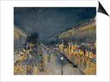 The Boulevard Montmartre at Night, 1897 Prints by Camille Pissarro