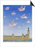 Pigs Might Fly Kunstdruck von Rebecca Campbell