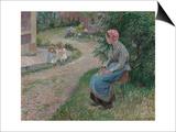 A Servant Seated in the Garden at Eragny; La Servante Assise Dans Le Jardin D'Eragny, 1884 Posters par Camille Pissarro