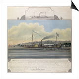 Hudson River Steamboat 'Clermont', 1858 (W/C on Paper Mounted on Canvas) Prints by Richard Varick De Witt