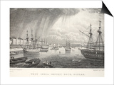 West India Docks Print by Thomas Hosmer Shepherd