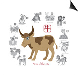 Chinese New Year Ox Color with Twelve Zodiacs Illustration Poster by  jpldesigns