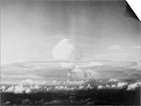 View of Hydrogen Bomb Mushroom Cloud Rising Poster