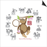 Chinese New Year Monkey Color with Twelve Zodiacs Illustration Prints by  jpldesigns
