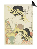The Courtesans Hanaogi and Takigawa of the Ogiya House, C. 1805 Posters by Kitagawa Utamaro