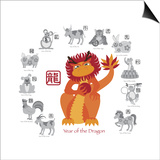 Chinese New Year Dragon Color with Twelve Zodiacs Illustration Print by  jpldesigns