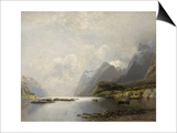 Landscape with Fjord, Steam Boats and Sailing Ships Art by Adolf Schweitzer