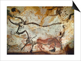 Cave of Lascaux, Great Hall, Left Wall: Second Bull, Below: Kneeling Red Cow, C. 17,000 BC Prints