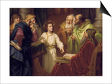 Christ Standing in the Temple Discussing the Scriptures with Five Robed Elders Posters