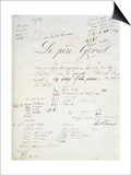 Manuscript Page of 'Le Pere Goriot' Prints by Honore de Balzac