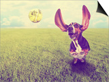 A Cute Basset Hound Chasing a Tennis Ball in a Park or Yard on the Grass Done with a Retro Vintage Prints by  graphicphoto