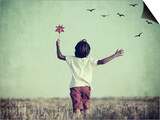 Retro Image of Happy Cheerful Carefree Kid in Nature Posters by  zurijeta