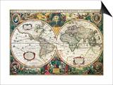 Nova Totius Terrarum Orbis Geographica Ac Hydrographica Tabula Posters by Henricus Hondius