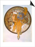 Medaillon with Portrait of a Blond Woman, 1897 Prints by Alphonse Mucha