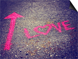 A Pink Arrow Showing the Way to Love Written on a Sidewalk with Chalk Toned with a Retro Vintage In Posters by  graphicphoto