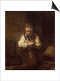 A Girl with a Broom, 1651 Posters by  Rembrandt van Rijn