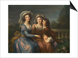 The Marquise De Pezay, and the Marquise De Rouge with Her Sons Alexis and Adrien, 1787 Affiches par Elisabeth Louise Vigee-LeBrun
