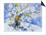 Wild Fruits and Forsythia Blossoms in Glass Vase, 2000 Prints by Sybille Fischer-Bradford