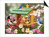 Backyard Birds Spring Feast Art by William Vanderdasson