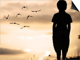 Alone Kid Standing on Field Looking far Away on Birds Flock Art by  zurijeta
