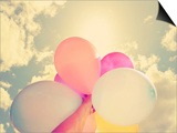 A Person Holding Multi Colored Balloons Done with a Retro Vintage Instagram Filter Prints by  graphicphoto