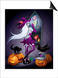 feoris - Halloween Illustration : a Beautiful Witch Looking at a New York City - Poster
