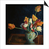Tulips in a Staffordshire Jug Planscher av Dora Carrington