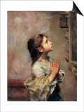 Praying Girl, Italian Painting of 19th Century Posters by Roberto Ferruzzi
