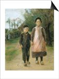 Boy and Girl on a Village Street, Ca 1897 Prints by Max Liebermann
