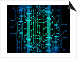 Abstract Illustration of Blue and Green Colored Circuit Board Posters by  oriontrail2