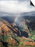 Hawaii, Kauai, Waimea Canyon State Park, a Rainbow over Waimea Canyon Prints by Christopher Talbot Frank