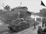 U.S. Sherman Tanks Leave a Landing Ship in Anzio Harbor, May 1944 Print