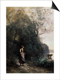 Shepherdess with a Cow at the Edge of the Forest, 1865-1870 Art by Jean-Baptiste-Camille Corot