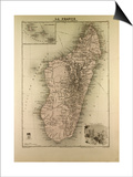 Map of Madagascar and Comoros 1896 Posters