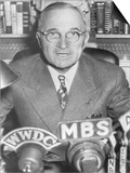 President Harry Truman Speaking into Microphones of Radio Networks, Ca. 1945-48 Posters