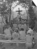 Chaplain Conducts Services North of Hwachon, Korea, for Men of 31st Regiment Posters