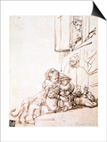 Woman with a Child Afraid of a Dog, 17th Century Posters by  Rembrandt van Rijn