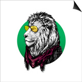 Lion in Glasses and Color Scarf with Drawing. Prints by  MargaritaSh