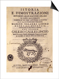 Title Page of History and Demonstrations Concerning Sunspots and their Properties Print by Galileo Galilei