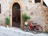 Italy, Tuscany, Pienza. Bicycles Parked Along the Streets of Pienza Posters af Julie Eggers